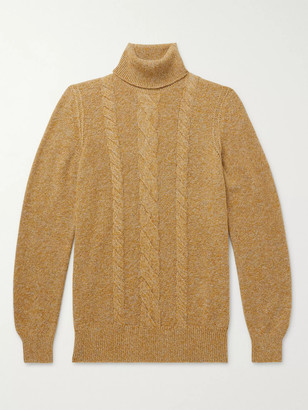 Loro Piana Cable-Knit Melange Baby Cashmere Rollneck Sweater - Men - Yellow