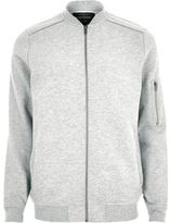 River Island MensGrey piped bomber jacket