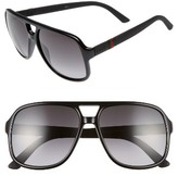 Gucci Men's Logo Temple 59Mm Aviator Sunglasses - Black Rubber/ Grey