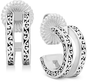 Lois Hill Scroll Work Filigree Double Huggie Hoop Earrings in Sterling Silver