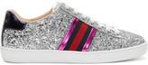 Gucci Silver Glitter Ace Sneakers