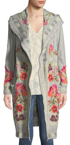 Johnny Was Sysen Hooded Duster Cardigan w/ Floral Embroidery