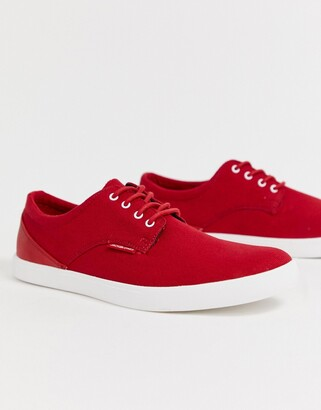 Jack and Jones canvas lace-up plimsoll-Red