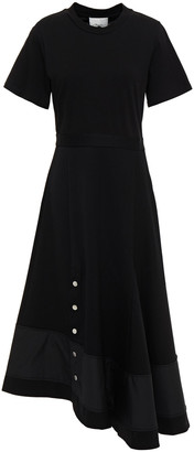 3.1 Phillip Lim Asymmetric Cotton-jersey And Wool-twill Midi Dress