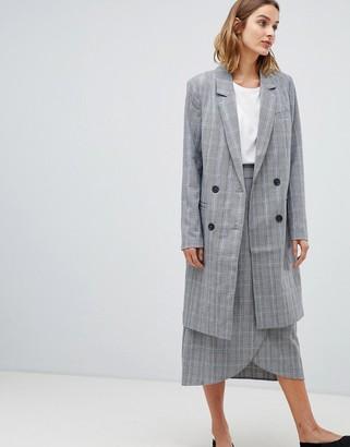 Gestuz Danielle tailored check longline coat-Gray