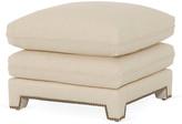 Bunny Williams Home Empire Plush Ottoman - Ivory Linen upholstery, ivory; nailheads, brass