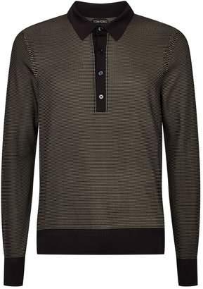 Tom Ford Silk Long-Sleeved Polo Shirt