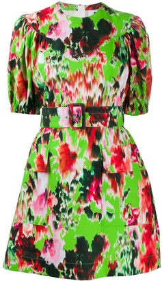 MSGM Abstract Floral Print Belted Dress