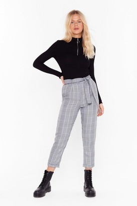 Nasty Gal Womens Tartan Up The Party High-Waisted Trousers - Black - 4