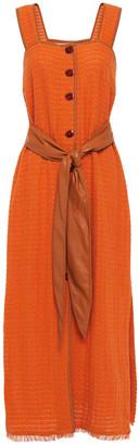 Nanushka Vegan Leather-trimmed Cotton-blend Cloque Midi Dress