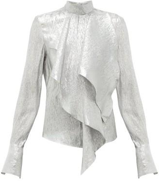 Petar Petrov Cynthia Draped Silk-blend Lame Blouse - Womens - Silver