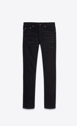 Saint Laurent Skinny Jeans In Silver-coated Black Stretch Denim Black Silve 26