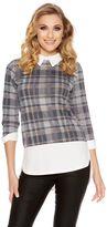 Quiz Grey Check Print Collar Detail Top