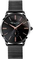 Thomas Sabo Black Dial Rose Detail Black Mesh Bracelet Mens Watch