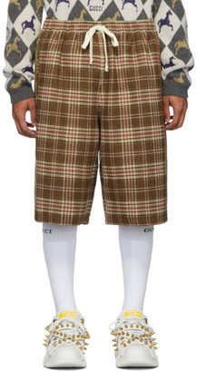 Gucci Brown and Beige Vintage Check Shorts