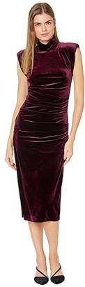 Nicole Miller Stretch Velvet Mock Neck Midi Dress (Burgundy) Women's Clothing