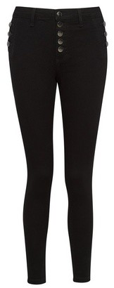 Dorothy Perkins Womens Black Exposed Button Darcy Skinny Fit Ankle Grazer Jeans, Black