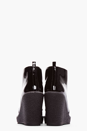 Marc by Marc Jacobs Black Patent Leather Classic Wedge Boots