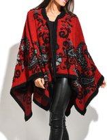 Everest Red & Black Paisley Wool-Blend Cape