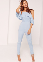 Missguided Crepe Frill Detail Romper Blue