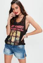 Missguided Black Ziggy Stardust Studded Graphic Tank Top