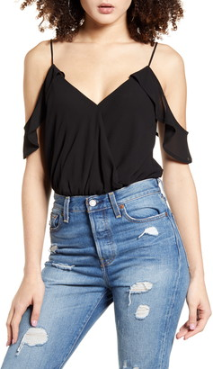 4SI3NNA the Label Ruffle Off-the-Shoulder Bodysuit