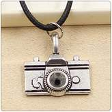Nobrand No brand Fashion Tibetan Silver Pendant camera Necklace Choker Charm Black Leather Cord Handmade Jewlery