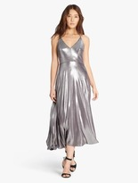 Halston Metallic Jersey Midi Dress