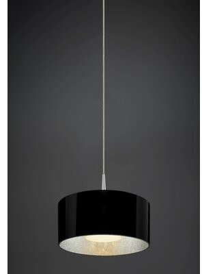 Bruck Lighting Cantara 1 - Light Single Drum LED Pendant Finish: Bronze, Interior Shade Color: Silver