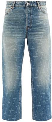 Balenciaga Monogram-logo Cropped Jeans - Denim