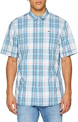 Tommy Jeans Men's Summer Check Short Sleeve Classic Casual Shirt,Small