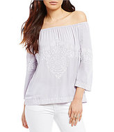 Gianni Bini Consuela Off-the-Shoulder Embroidered Blouse
