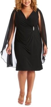 R & M Richards Plus Size Embellished Chiffon-Cape Dress