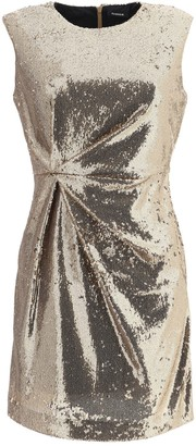 P.A.R.O.S.H. Gathered Sequin Embellished Mini Dress