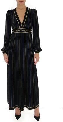 Gucci Glitter Lame Striped V-Neck Dress