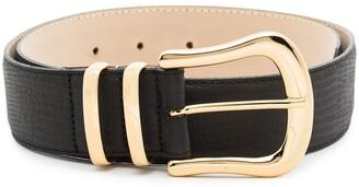 Black & Brown Lizard-Pattern Buckle Leather Belt