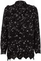 River Island Womens Black zodiac print lace insert shirt