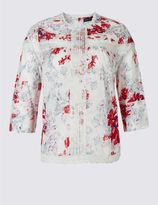 Marks and Spencer PLUS Pure Cotton Printed Pintuck Blouse