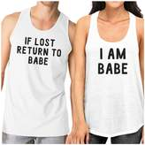 365 Printing If Lost Return To Babe Cute Matching Workout Tank Tops White Cotton
