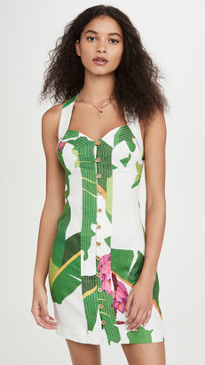 Farm Rio White Tropicalistic Linen Mini Dress