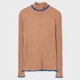 Paul Smith Women's Tan Wool-Silk Ribbed Roll-Neck Sweater