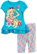 Children's Apparel Network Blue Barbie Top & Chevron Leggings - Toddler