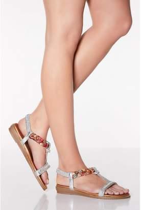 Quiz Comfort Silver Diamante Pleat Sandals