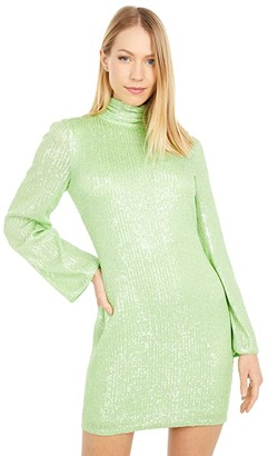 ONE33 SOCIAL High Neck Solid Long Sleeve Sequin Party Dress (Lime) Women's Dress