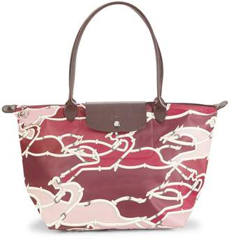 Longchamp Print Leather-Trim Tote