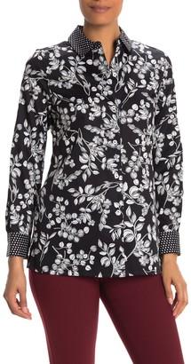 Foxcroft Libby 3/4 Length Sleeve Floral Dot Print Wrinkle Free Shirt