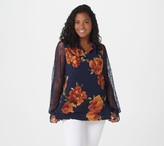Susan Graver Printed Liquid Knit Top with Lace Sleeves