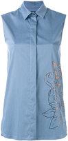 Eggs - metallic print sleeveless shirt - women - Cotton/Nylon/Spandex/Elastane - 40