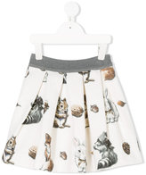 MonnaLisa woodland animals print skirt