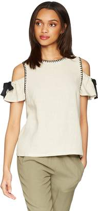 Moon River Women's Blanket Stitch Cold Shoulder Soft Top with Bow Detail